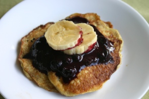 Banana Pancakes with Blueberry Sauce